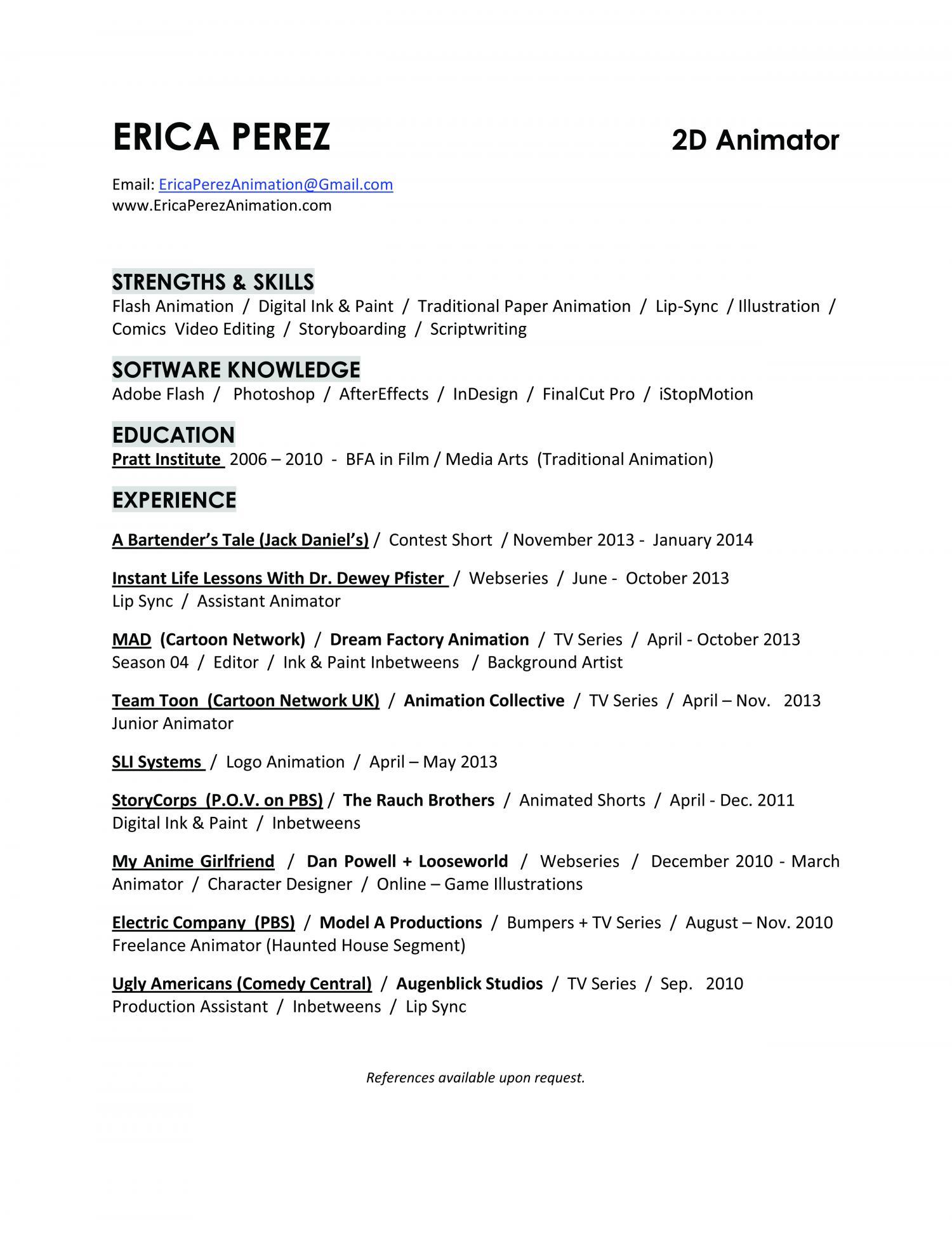 Short Resume  Animation Resume